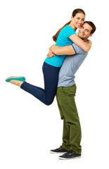 Loving Man Lifting Woman Against White Background