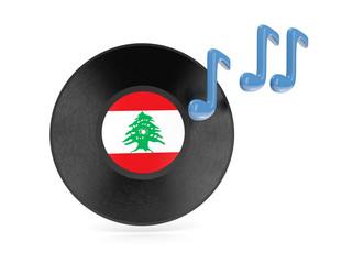 Vinyl disk with flag of lebanon
