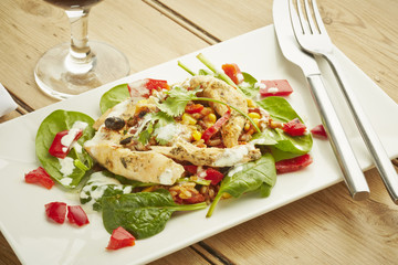 Chicken salad on white dish