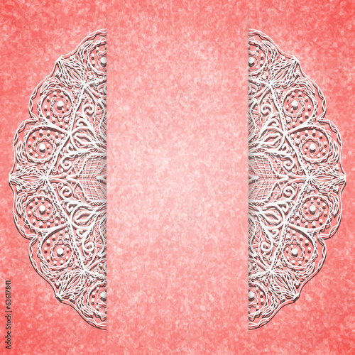 Abstract pink background with white lacy mandala pattern.