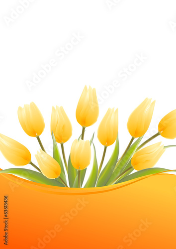 Yellow tulip spring flowers bouquet for your design.
