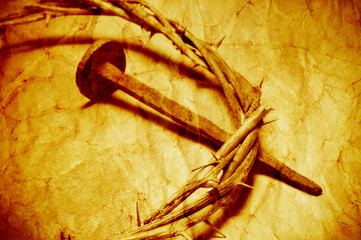 the Jesus Christ crown of thorns with a retro filter effect