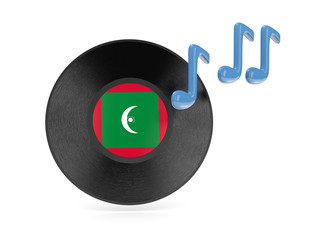 Vinyl disk with flag of maldives