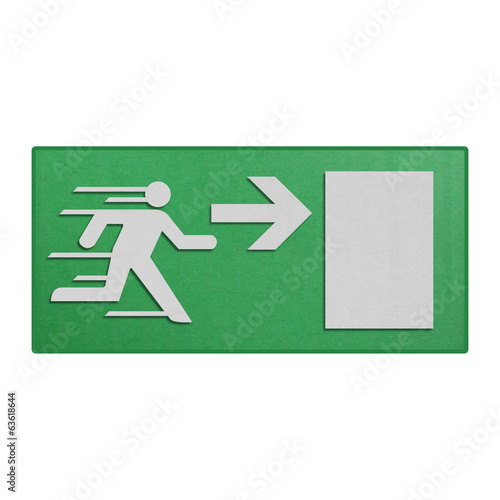 paper cut of green run to exit label for emergency with escape s