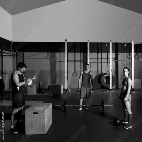 gym group workout barbells slam balls and jump