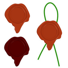 A set of three wax seal isolated on white background.