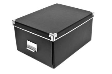 black cardboard storage box