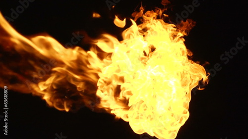 Fire on a black background.