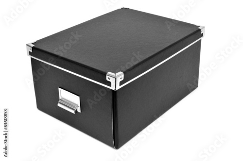 black cardboard storage box
