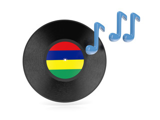 Vinyl disk with flag of mauritius