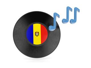 Vinyl disk with flag of moldova