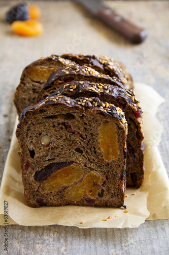 Holiday home-made bread with dried fruits.
