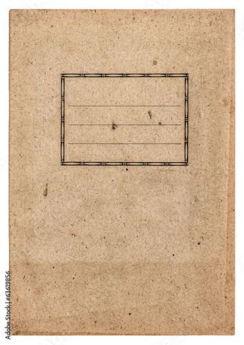 old paper book cover isolated on white