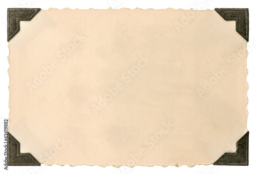 old photo card with corner isolated on white
