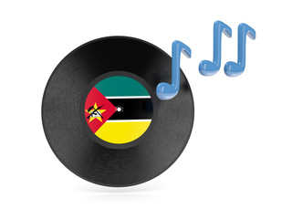 Vinyl disk with flag of mozambique