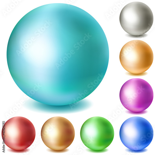 Set of multicolored matte spheres