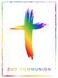 Kommunionskarten-Design mit Kruzifix in Regenbogenfarben