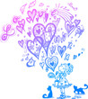 Girl and bag with flying hearts and doodles