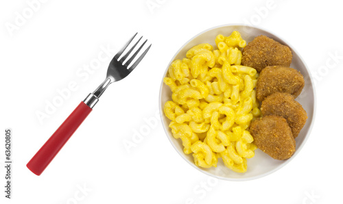 Chicken Nuggets Macaroni Cheese Fork