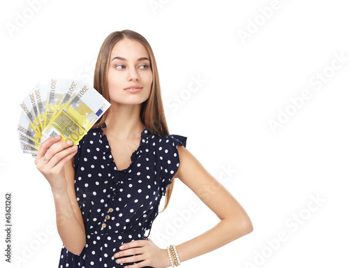 Woman holding euro money
