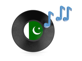Vinyl disk with flag of pakistan