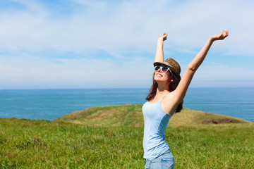 Woman enjoying freedom and travel