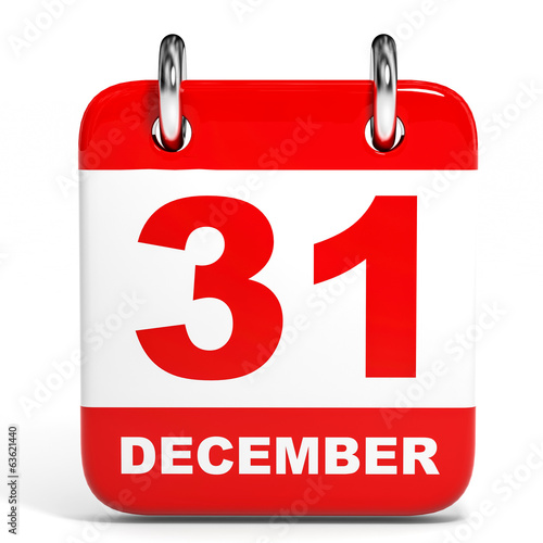 Calendar on white background. 31 December.
