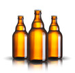 canvas print picture - beer bottles isolated on white background