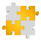 3d grey puzzle with golden diagonal on white
