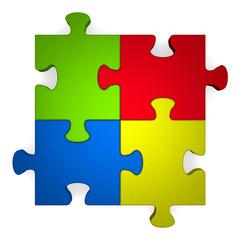 3d multicolor puzzle on white