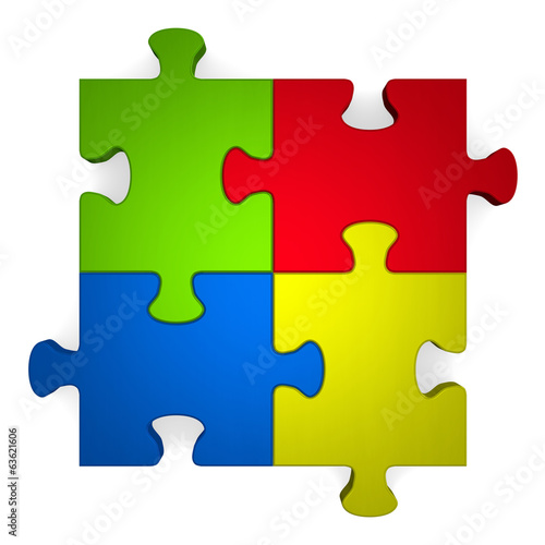 3d multicolor puzzle on white