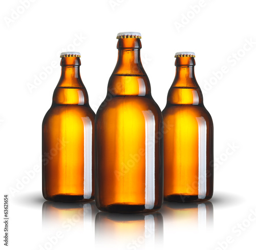 canvas print picture beer bottles isolated on white background