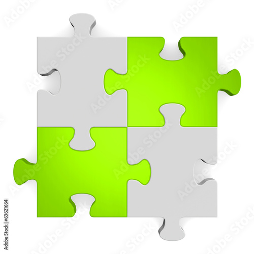 3d grey puzzle with green diagonal on white
