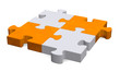 3d grey puzzle with orange diagonal, perspective