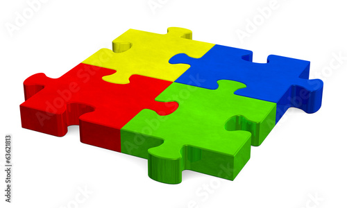 3d multicolor puzzle, perspective view