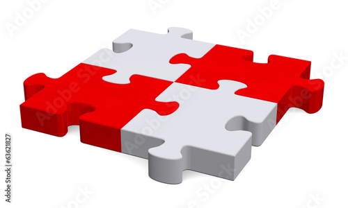 3d grey puzzle with red diagonal, perspective