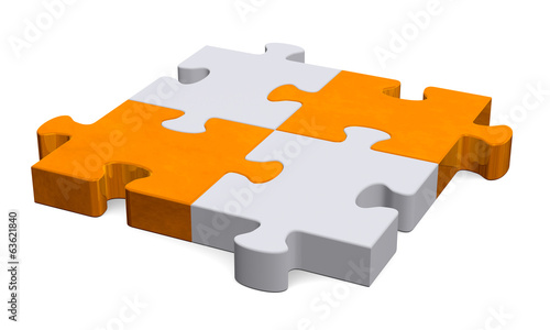 3d grey puzzle with orange diagonal, perspective