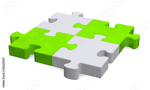 3d grey puzzle with green diagonal, perspective