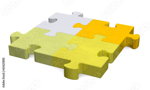 3d puzzle, shades of golden to grey, perspective