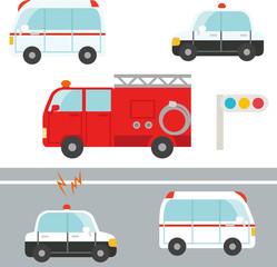 かわいいパトカー、救急車、消防車