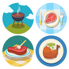 set of grill and meat icons in flat design