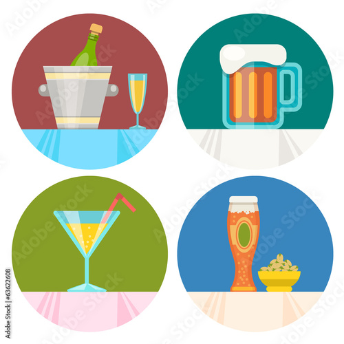 set of drink icons in flat design style