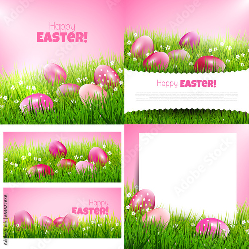 Vector set of Easter greeting cards and backgrounds