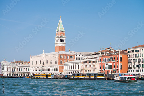 VENICE, ITALY - MAR 23, 2014: City view with landmarks and boats