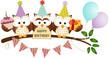 Cute Three Owls Happy Birthday - 63623210