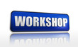 workshop in blue banner