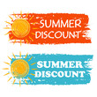 summer discount with yellow sun sign, orange and blue drawn labe