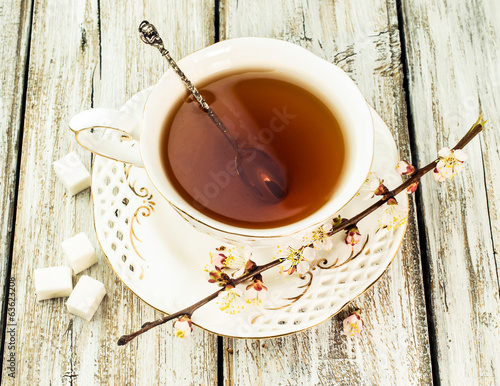 cup of tea with flowering branches apricots