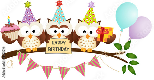 Tuinposter Uilen cartoon Cute Three Owls Happy Birthday