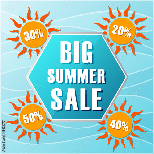 big summer sale and percentages off in suns, label in flat desig